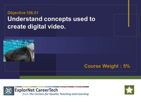 Objective 106.01 Understand concepts used to create digital video. Course Weight : 5%