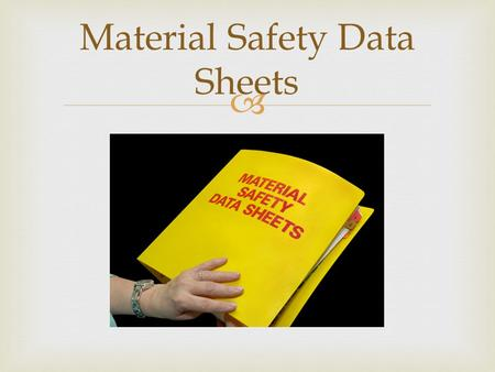  Material Safety Data Sheets.   Purpose of the MSDS  How to access an MSDS  How to find and interpret essential safety and health information  How.