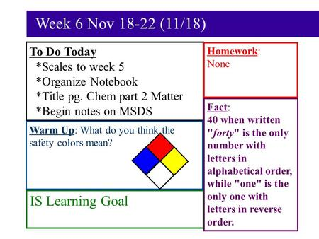 Week 6 Nov 18-22 (11/18) To Do Today *Scales to week 5 *Organize Notebook *Title pg. Chem part 2 Matter *Begin notes on MSDS Warm Up: What do you think.
