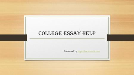 Help Writing An Essay For College