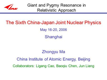 Giant and Pygmy Resonance in Relativistic Approach The Sixth China-Japan Joint Nuclear Physics May 16-20, 2006 Shanghai Zhongyu Ma China Institute of Atomic.