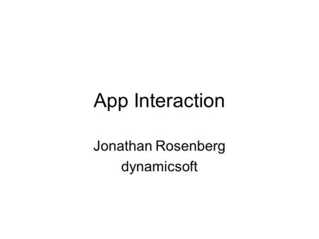 App Interaction Jonathan Rosenberg dynamicsoft. Context Param INVITE Call-ID:A From:caller;tag=B To:callee;tag=C Supported: context INVITE/200 REFER sip:gruu.