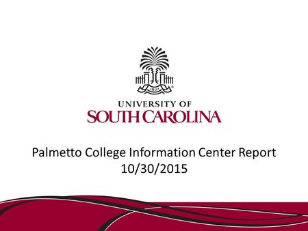 Palmetto College Information Center Report 10/30/2015.