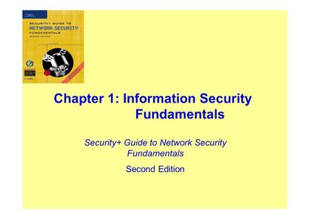 Chapter 1: Information Security Fundamentals Security+ Guide to Network Security Fundamentals Second Edition.