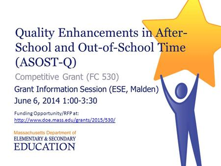 Quality Enhancements in After- School and Out-of-School Time (ASOST-Q) Competitive Grant (FC 530) Grant Information Session (ESE, Malden) June 6, 2014.