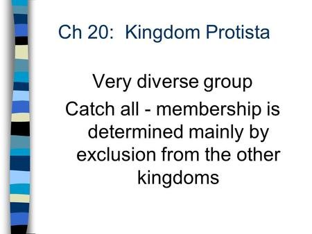 Ch 20: Kingdom Protista Very diverse group Catch all - membership is determined mainly by exclusion from the other kingdoms.