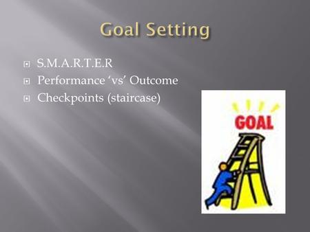  S.M.A.R.T.E.R  Performance 'vs' Outcome  Checkpoints (staircase)