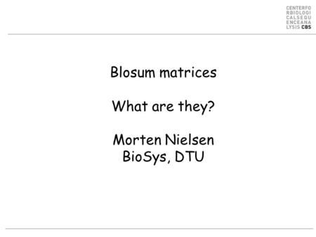 Blosum matrices What are they? Morten Nielsen BioSys, DTU.