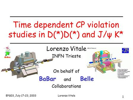 1 EPS03, July 17-23, 2003Lorenzo Vitale Time dependent CP violation studies in D(*)D(*) and J/ψ K* Lorenzo Vitale INFN Trieste On behalf of BaBar and Belle.