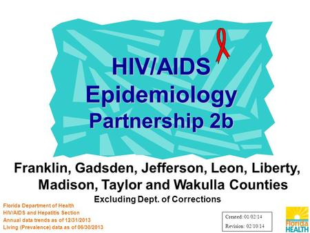 Franklin, Gadsden, Jefferson, Leon, Liberty, Madison, Taylor and Wakulla Counties Excluding Dept. of Corrections HIV/AIDS Epidemiology Partnership 2b Florida.