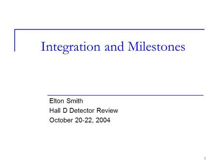 1 Integration and Milestones Elton Smith Hall D Detector Review October 20-22, 2004.