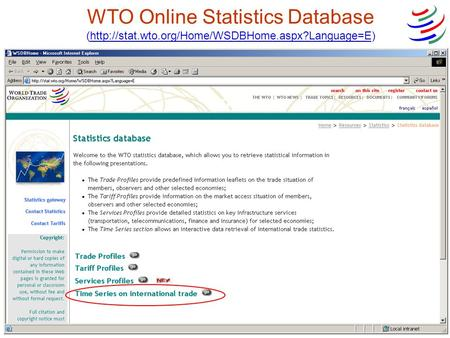 WTO Online Statistics Database (http://stat.wto.org/Home/WSDBHome.aspx?Language=E)