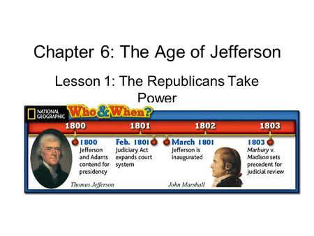 Chapter 6: The Age of Jefferson Lesson 1: The Republicans Take Power.