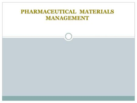 PHARMACEUTICAL MATERIALS MANAGEMENT. Contents 2 IntroductionPurchasingRaw Materials Packaging Materials Waste materials.