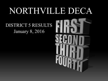 NORTHVILLE DECA DISTRICT 5 RESULTS January 8, 2016.