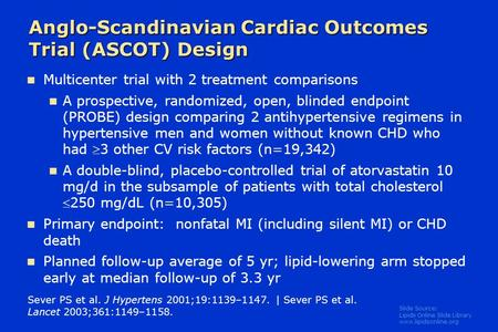 Slide Source: Lipids Online Slide Library www.lipidsonline.org Anglo-Scandinavian Cardiac Outcomes Trial (ASCOT) Design Sever PS et al. J Hypertens 2001;19:1139–1147.