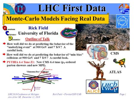 LHC2010 Conference at Michigan Ann Arbor MI, December 12, 2010 Rick Field – Florida/CDF/CMSPage 1 LHC First Data Rick Field University of Florida Outline.