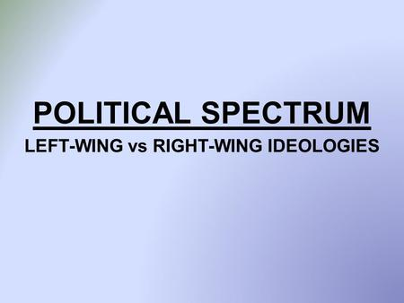 POLITICAL SPECTRUM LEFT-WING vs RIGHT-WING IDEOLOGIES