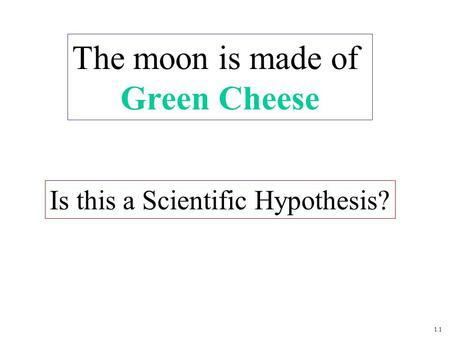 1.1 Is this a Scientific Hypothesis? The moon is made of Green Cheese.