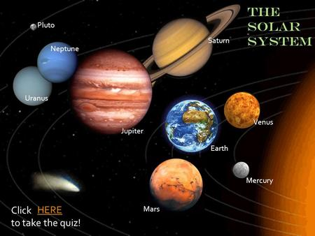THE SOLAR SYSTEM Click HERE to take the quiz! Pluto Saturn Neptune