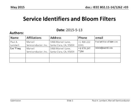 Doc.: IEEE 802.11-14/1262 r03 Submission Paul A. Lambert, Marvell SemiconductorSlide 1 Service Identifiers and Bloom Filters Date: 2015-5-13 Authors: May.