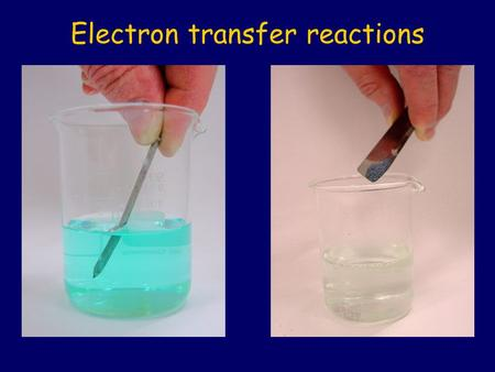 Electron transfer reactions. A grey iron nail is dipped into blue copper sulfate solution and immediately withdrawn. Iron and copper sulfate.