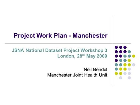 Project Work Plan - Manchester JSNA National Dataset Project Workshop 3 London, 28 th May 2009 Neil Bendel Manchester Joint Health Unit.