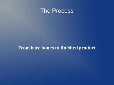 The Process From bare bones to finished product. The Steps Programming Debugging Performance Tuning Optimization.