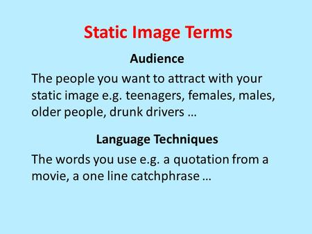 Static Image Terms Audience The people you want to attract with your static image e.g. teenagers, females, males, older people, drunk drivers … Language.