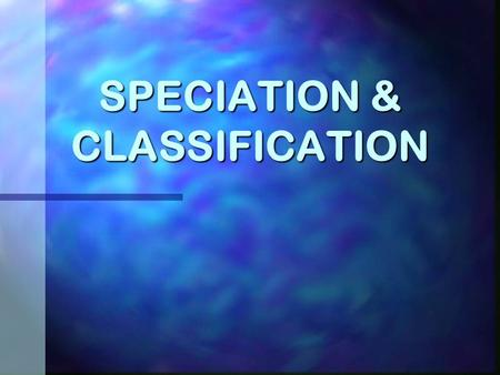 SPECIATION & CLASSIFICATION Allopatric Speciation.