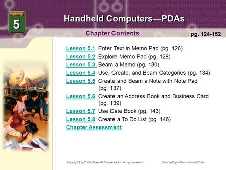 Glencoe Digital Communication Tools Handheld Computers—PDAs Chapter Contents Lesson 5.1Lesson 5.1 Enter Text in Memo Pad (pg. 126) Lesson 5.2Lesson 5.2.
