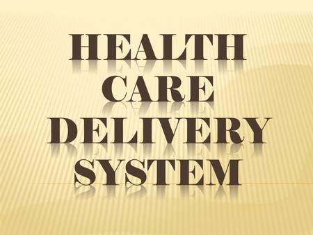 "Health Care Delivery System ""the totality of all policies, facilities, equipment, product and human resources and services which address the health needs,"