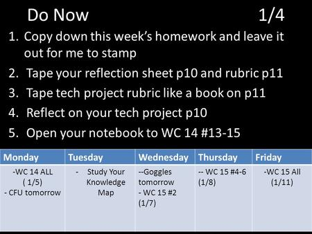Do Now 1/4 1.Copy down this week's homework and leave it out for me to stamp 2.Tape your reflection sheet p10 and rubric p11 3.Tape tech project rubric.
