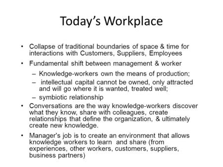 Today's Workplace Collapse of traditional boundaries of space & time for interactions with Customers, Suppliers, Employees Fundamental shift between management.