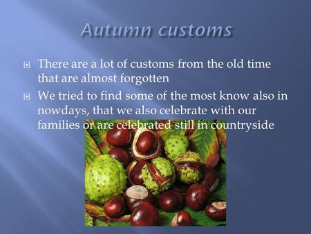  There are a lot of customs from the old time that are almost forgotten  We tried to find some of the most know also in nowdays, that we also celebrate.