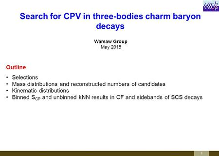 1 Warsaw Group May 2015 Search for CPV in three-bodies charm baryon decays Outline Selections Mass distributions and reconstructed numbers of candidates.