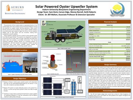 Solar Powered Oyster Upweller System Auburn University Biosystems Engineering Department Design Team: Sam Deck, Carson Edge, Manny Norrell, Keith Roberts.