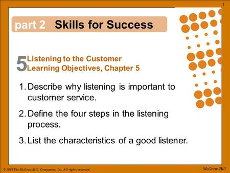 © 2009 The McGraw-Hill Companies, Inc. All rights reserved. 1 McGraw-Hill part 5 2 1.Describe why listening is important to customer service. 2.Define.