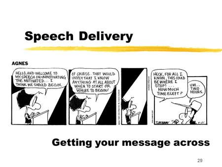 29 Speech Delivery Getting your message across. 30 Outline Preparation Organization Visual Aids Physical Skills Delivery Summary.