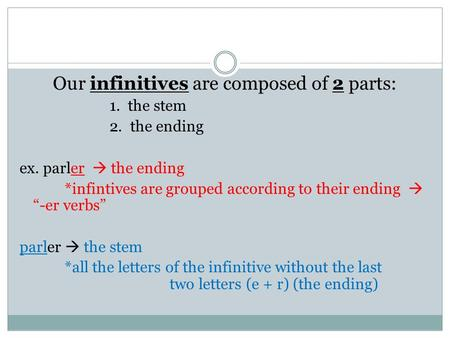 Our infinitives are composed of 2 parts: