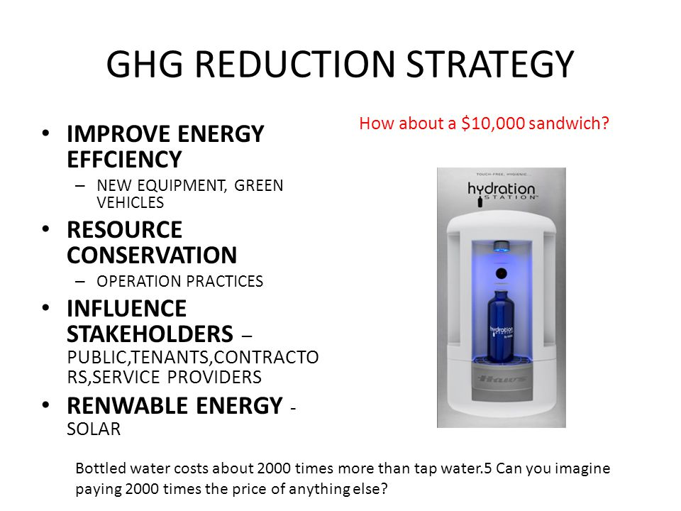 SHORT TERM GHG REDUCTION MEASURES Achieve 75% Solid Waste Recycling Complete PC Air Installation at B/A B&E and at T2 Complete Ongoing Lighting Efficiency Projects Continue Fleet Vehicle Replacement Program Measure Fugitive Refrigerant Gas Losses Other Measures: Green Car Rental and Carbon Kiosks Goal: Achieve Carbon Neutrality by July 2011 -- 9 MONTHS AWAY …..