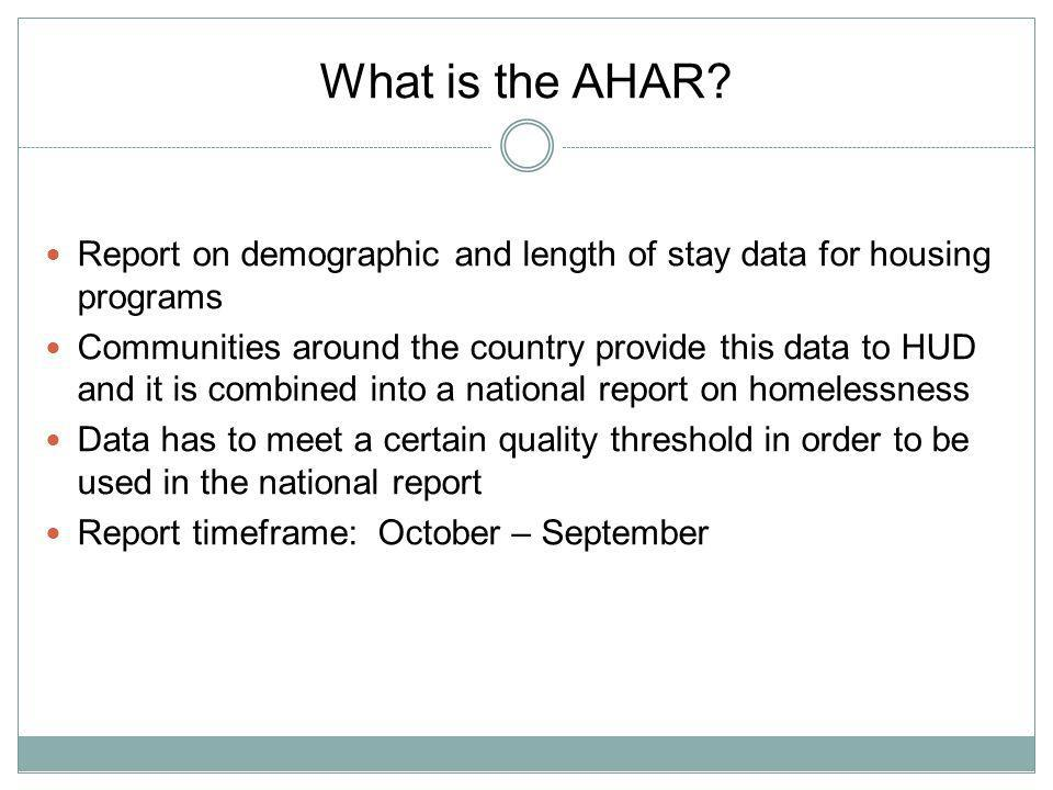 AHAR Update Reporting Categories accepted.