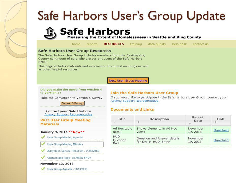 Safe Harbors User s Group Meeting Where: Solid Ground 1501 N 45th Street Seattle, WA 98103 1st Floor Main Conference Room Solid Ground When: Thursday, March 13, 2014 10:00 AM - 11:30 AM