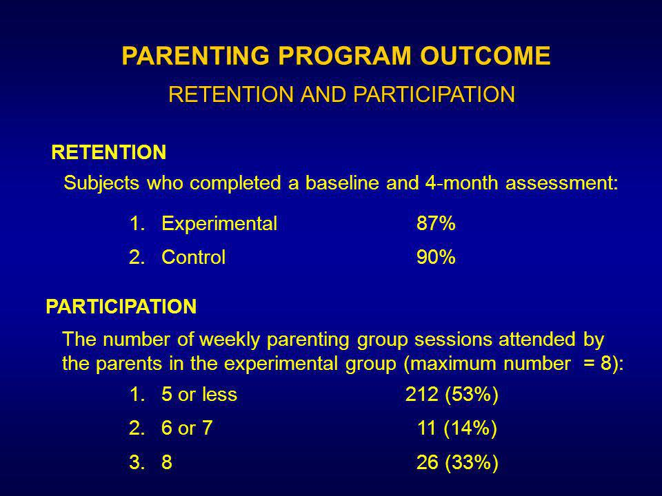 There were no indications of superiority of outcome for the experimental intervention group over the control group The mothers viewed their emotional relationship with the child as being positive.