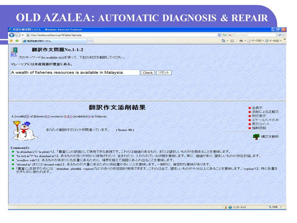 New AZALEA: Lesson Scenario Selected LESSON KEYWORD RECORD OPTION HELP New AZALEA