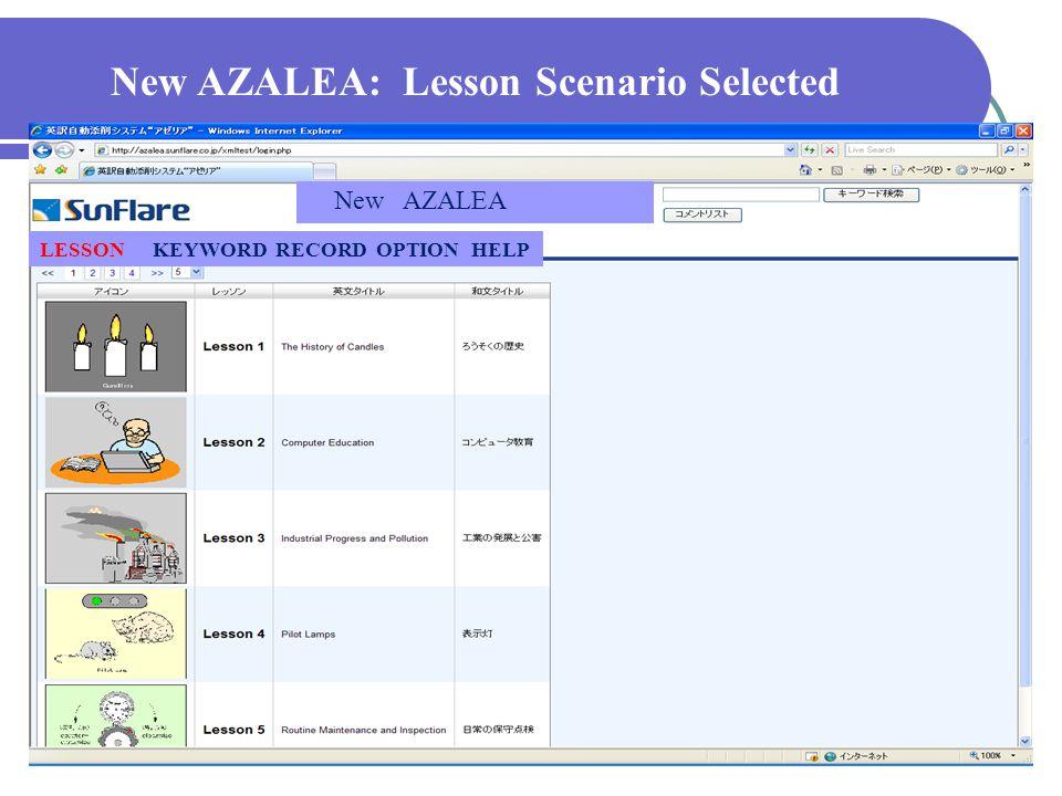 New AZALEA: By KEYWORD SCENARIO LESSON KEYWORD RECORD OPTION HELP New AZALEA