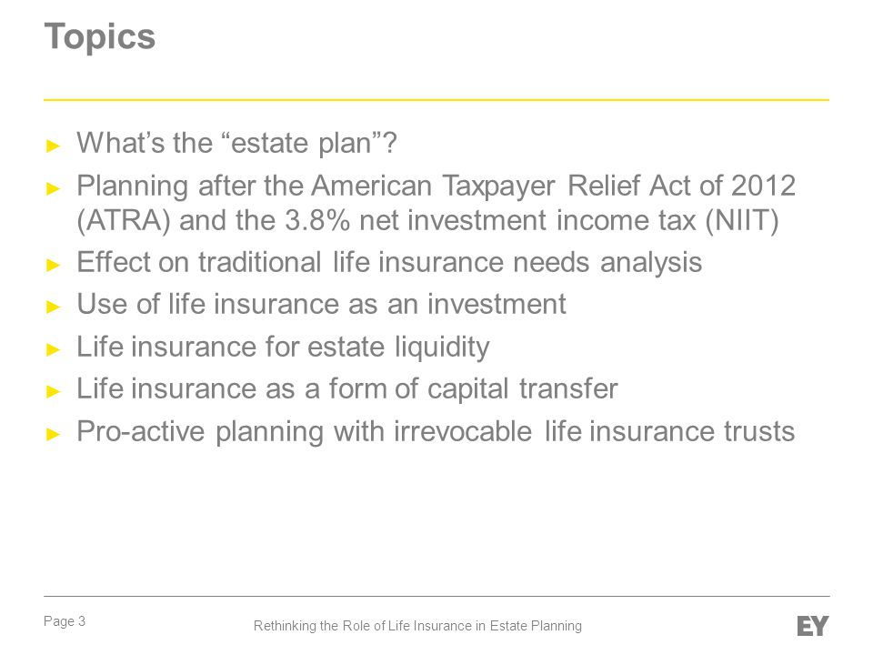 Page 4 Rethinking the Role of Life Insurance in Estate Planning What's the estate plan .