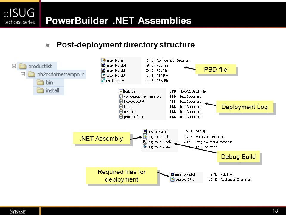19 PowerBuilder.NET Assemblies  Deployment to target environment Runtime packager System Library for.NET Other required files dependent on functionality  XCopy from /install directory OR Setup file (MSI) from project object properties