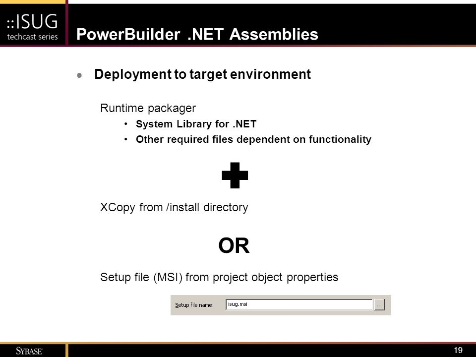 20 PowerBuilder.NET Assemblies  Develop the calling application (Visual Studio.NET) –Add reference to assembly