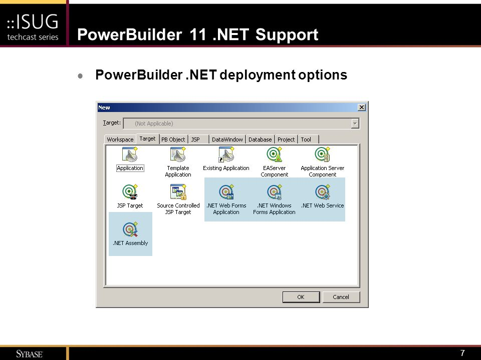 8.NET Assembly Definition  Building block of.NET applications –Logical unit of functionality (a DLL in physical terms) –Implementation independent –Contains code – Microsoft Intermediate Language (MSIL) – executed by Common Language Runtime (CLR)  Imposes boundaries for contexts of –Security –Type –Reference scope –Versioning –Deployment  Implications for PowerBuilder developers –Immediate reuse of existing code in.NET architectures – Full citizenship in.NET application development circles